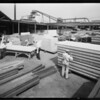 Olympic houses under construction at mill, Southern California, 1932