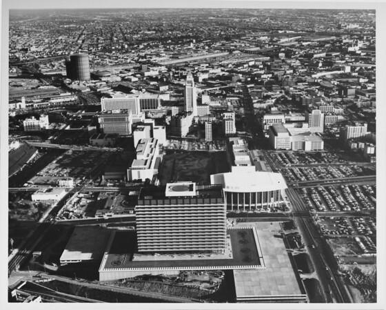 Los Angeles Civic Center, Dorothy Chandler Pavillion, Mark Taper Forum and Ahmanson Theater (under construction), Los Angeles City Hall, municipal buildings