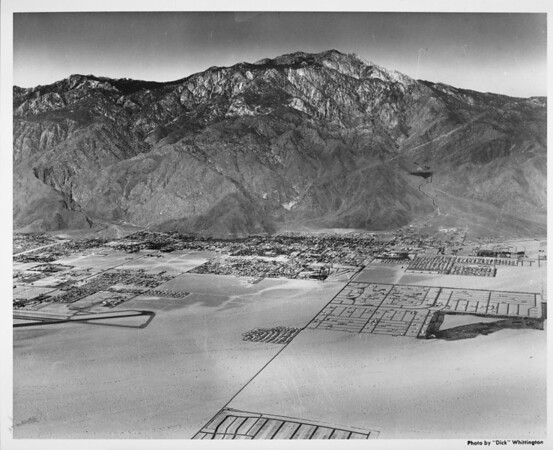 Aerial view of Palm Springs (facing west), Palm Springs airport, Palm Springs Country Club, Vista Chino, Sunrise Way