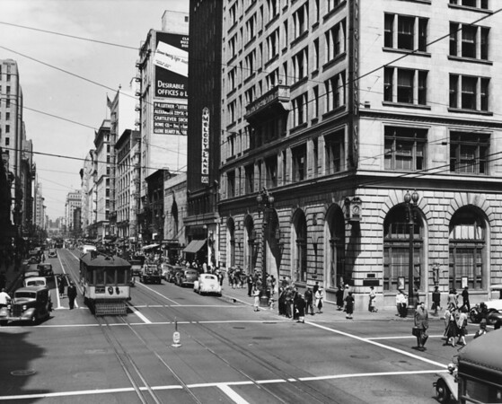 Facing north on South Hill Street from West Eighth Street. Union Bank & Trust, Melody Lane, with the tunnel at First Street in the distance