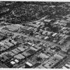 Aerial view facing north in West Los Angeles at Wilshire Boulevard and Brockton Street