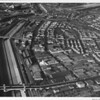Aerial view, Downtown Los Angeles, Atcheson, Topeca & Sante Fe Railroads, First Street, Fourth Street, Hollywood Freeway (US-101)