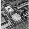 Aerial view of music center, North Hope Street, Grand Avenue, Temple Street, First Street