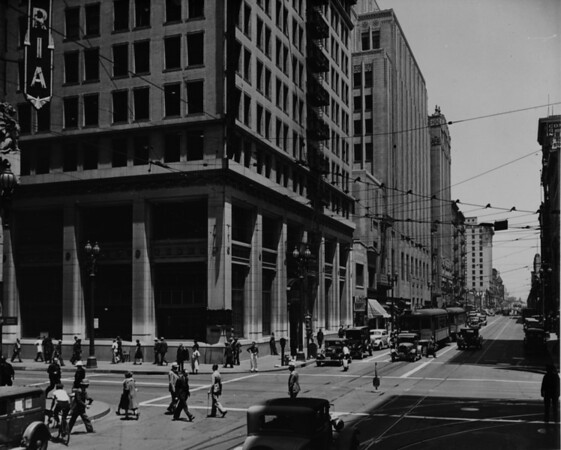 Spring Street looking southwest from Fourth Street