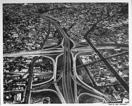 Aerial view, Downtown Los Angeles, interchange between the Harbor Freeway and Hollywood Freeway