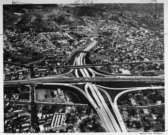 Aerial view, Downtown Los Angeles -- junction of the the Hollywood Freeway and Harbor Freeway