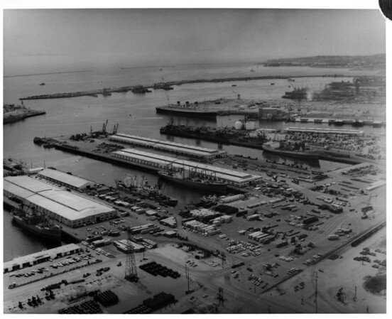 Aerial view facing west over Long Beach Harbor's West Basin from the Long Beach Naval Shipyard