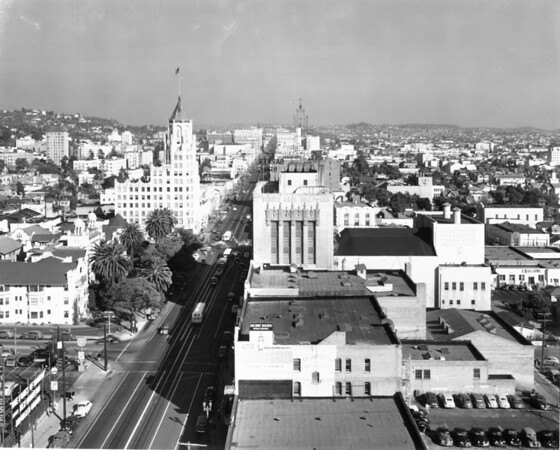 An extremely high-angle view of Hollywood Boulevard from the intersection of Orange Drive