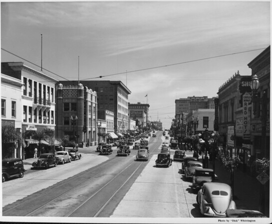 Looking down Colorado Boulevard as the many buildings stretch in row along each side