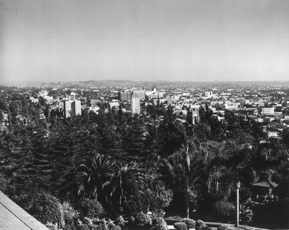 The Hollywood skyline seen from the Japanese Gardens in Hollywood Franklin Park