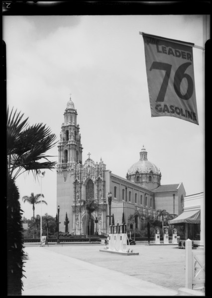 Pumps and St. Vincents Church, West Adams Boulevard and South Figueroa Street, Los Angeles, CA, 1934