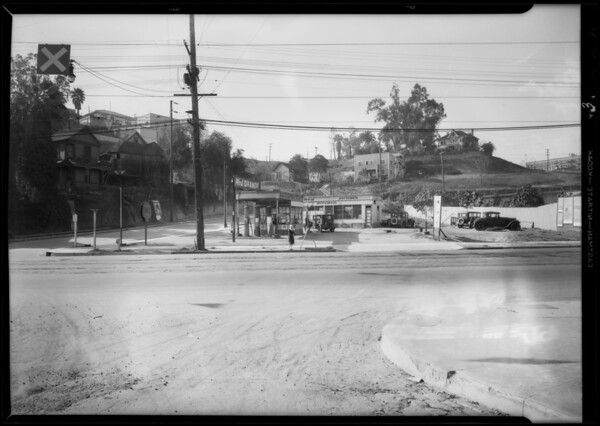 Gas station, West 2nd Street and Emerald Street, Los Angeles, CA, 1931