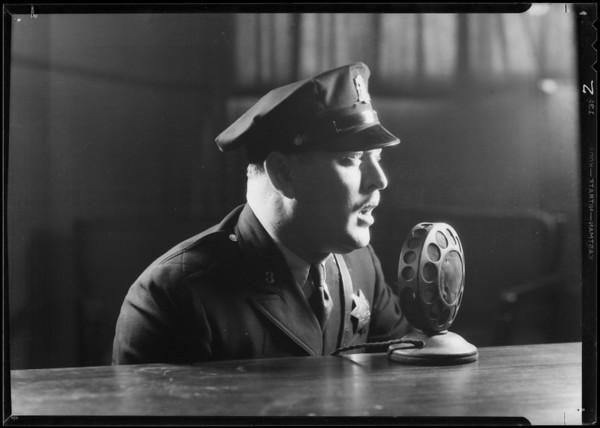 Policeman broadcasting, Southern California, 1934