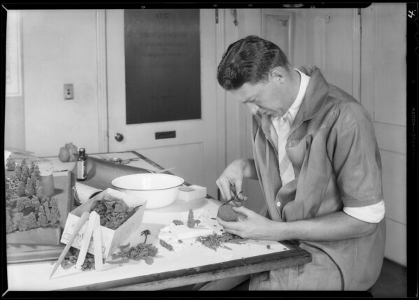 Making models from soap, Southern California, 1931