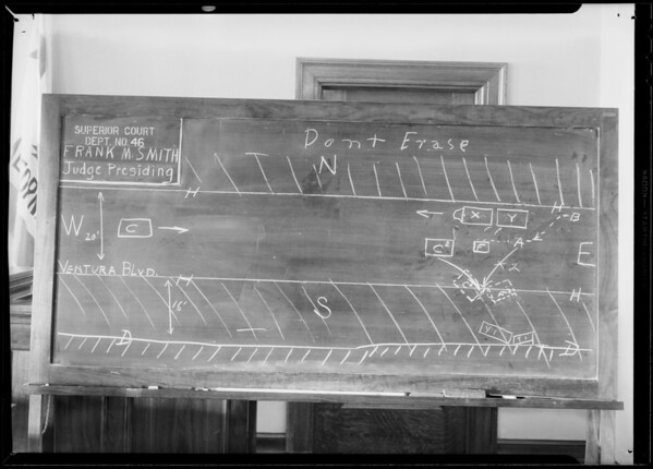 Blackboard at Superior Court Department 46, Southern California, 1932