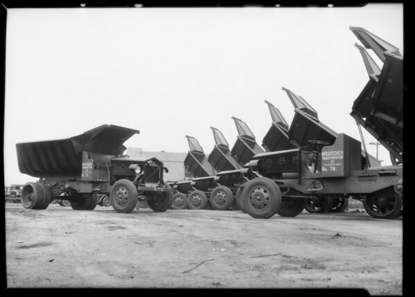 Fleet of McCutchen Transportation Company trucks, Vernon, CA, 1932