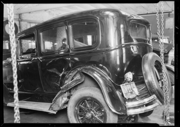 Wrecked Buick sedan, H.R. Jones, owner, Southern California, 1931