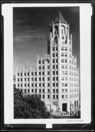 Retouched prints of buildings, Southern California, 1932