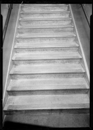 Stairway to basement, Walker's Department Store, Walker's vs. Mrs. H. Schaeffer, Long Beach, CA, 1933