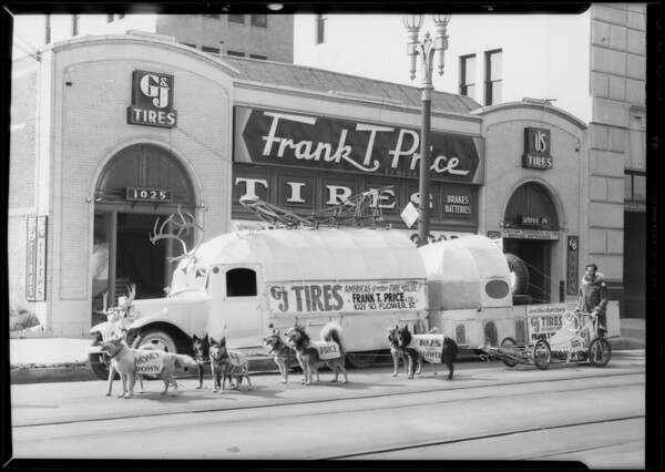 Dog team, Frank Price Tires, Los Angeles, CA, 1933