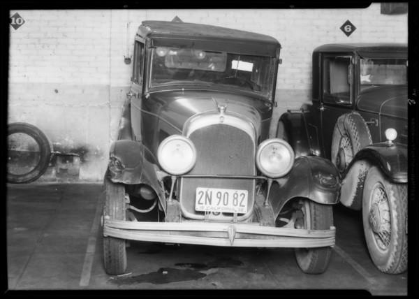 Damage to car, Southern California, 1932