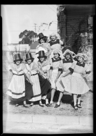 Children Christmas pageant costumes from Lincoln Heights playground, also stamp collectors, Los Angeles, CA, 1931