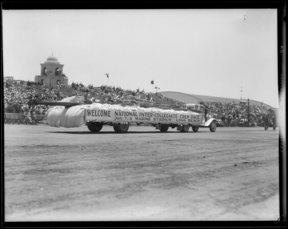 Marine float in National Air Race parade, Southern California, 1933