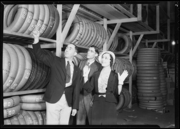 Girl in the tire store, Southern California, 1932