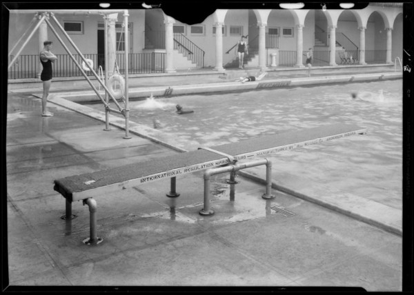 Diving board in swimming pool, Occidental College, 1600 Campus Road, Los Angeles, CA, 1931