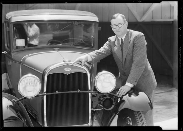 Man and car, Southern California, 1931