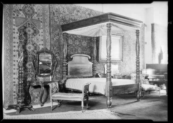 Interior view of furniture setup at 628 North Western Avenue, Los Angeles, CA, 1931