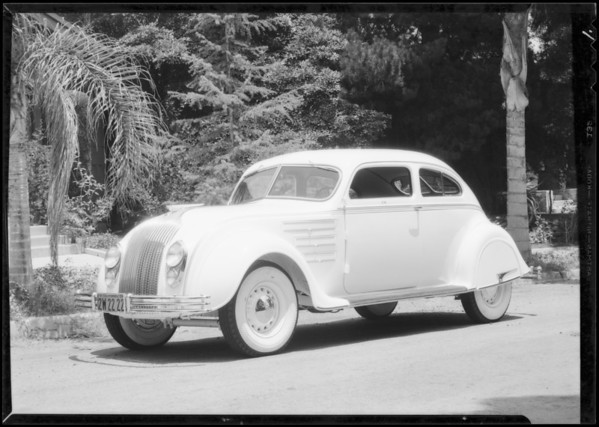 Airflow Chrysler on Vogue tires, Southern California, 1934