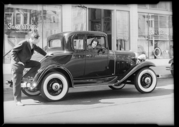 Publicity on new tires, Southern California, 1932