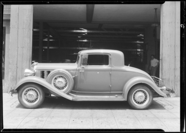 Chrysler coupe after repairs, Greer-Robbins Co., Southern California, 1934