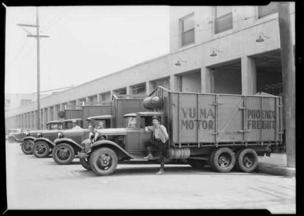 Fleet of trucks, Southern California, 1931