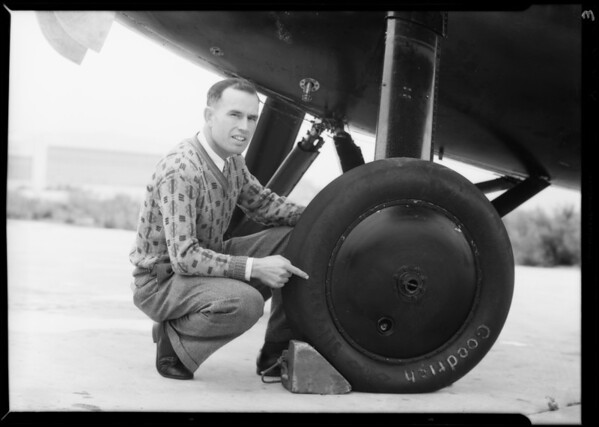 Lieutenant Bromley and Goodrich Tires, Southern California, 1932