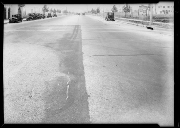 Intersection & skid marks at 9th Street & Goodrich Street, Southern California, 1932