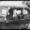 Jack Burge in Ford car, Southern California, 1934