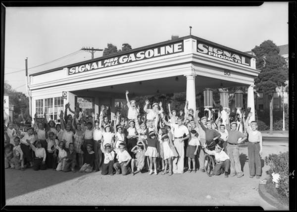 Tarzan group of children, station at North Normandie Avenue and Santa Monica Boulevard, Los Angeles, CA, 1933
