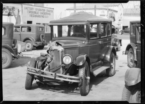 Wrecked Oldsmobile sedan taken at East Florence Avenue & South Avalon Boulevard, Los Angeles, CA, 1933