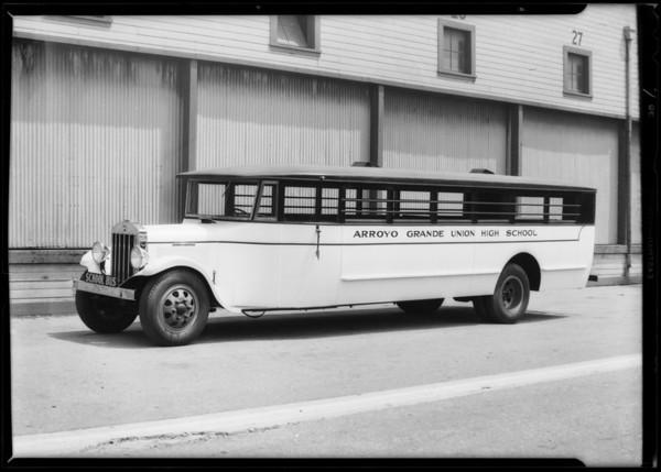 Arroyo Grande High School bus, Southern California, 1931