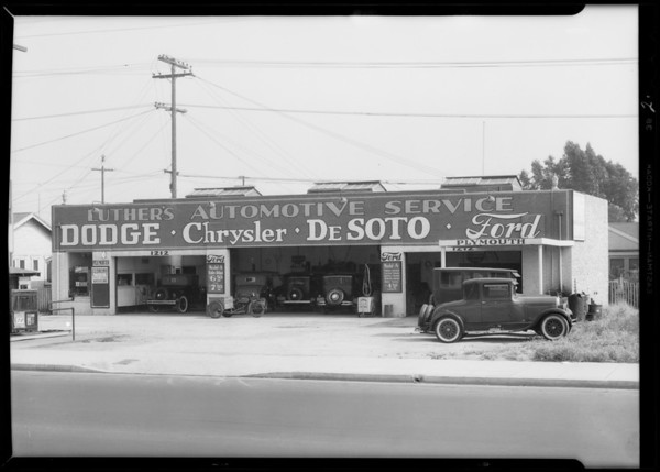 Views of garage, Southern California, 1932