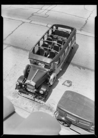 Gray line bus, top view, Southern California, 1933