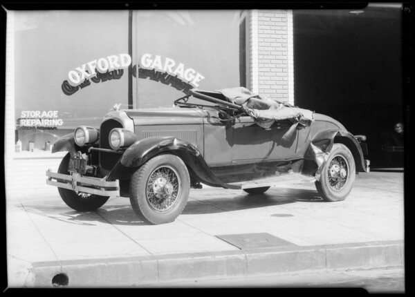 Wreck of Chrysler roadster, Oxford Garage, Southern California, 1931