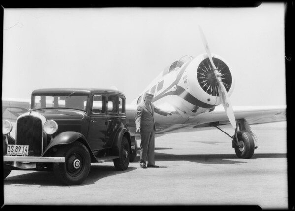 Air wheels at airport, Southern California, 1932