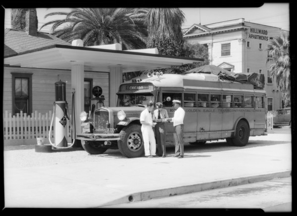 Bus to Chicago, uses Signal gas, Southern California, 1933