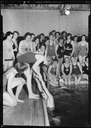 Swimming class, Carters pool, Southern California, 1932