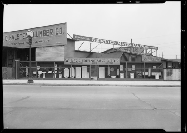 View of property, Wilner Plumbing Supply Company, Southern California, 1932