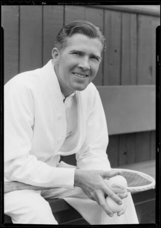 Mr. Curtis, Los Angeles Tennis Club endorses Shell gas, Southern California, 1933