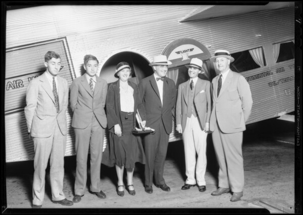 Arrival of Mr. Tew and party at Grand Central Airport, Glendale, CA, 1931